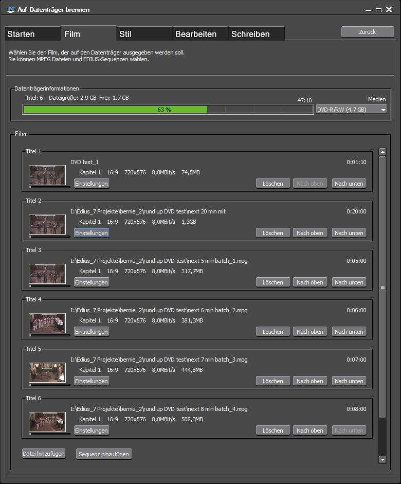DVD 1 Start-Sequenz + 5 Titel aus Datei