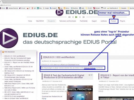 Edius.de > Neuigkeiten-Seite mit den Release Notes